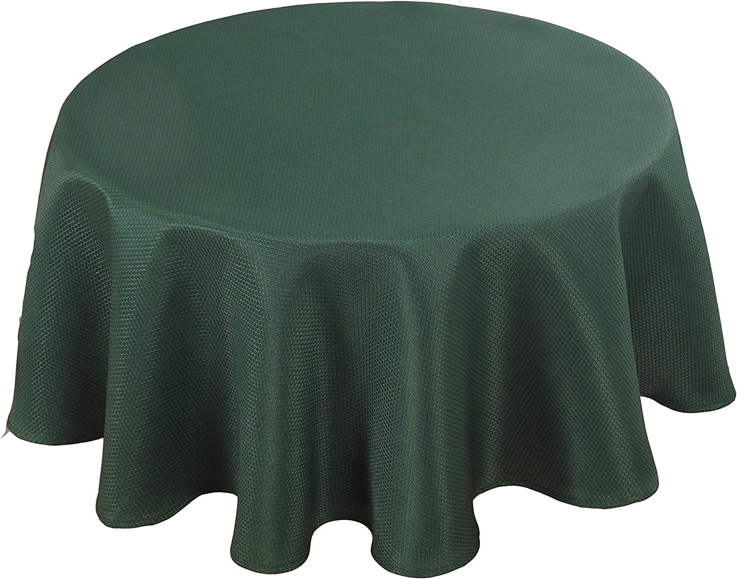 Biscaynebay Textured Fabric Table Cloth, Water Resistant Spill Proof Washable Tablecloths for Dining, Kitchen, Wedding and Parties, Hunter Green 60 Inches Round
