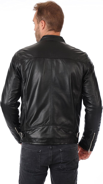 MARIYAM Leather Mens Genuine Lambskin Bomber Bkier Black Leather Jacket