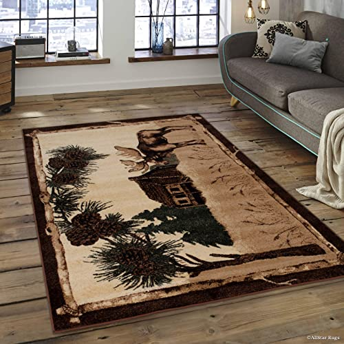 Allstar 8×10 Ivory and Mocha Cabin Rectangular Accent Rug with Green and Espresso Wildlife Moose Design 7 6 x 10 5