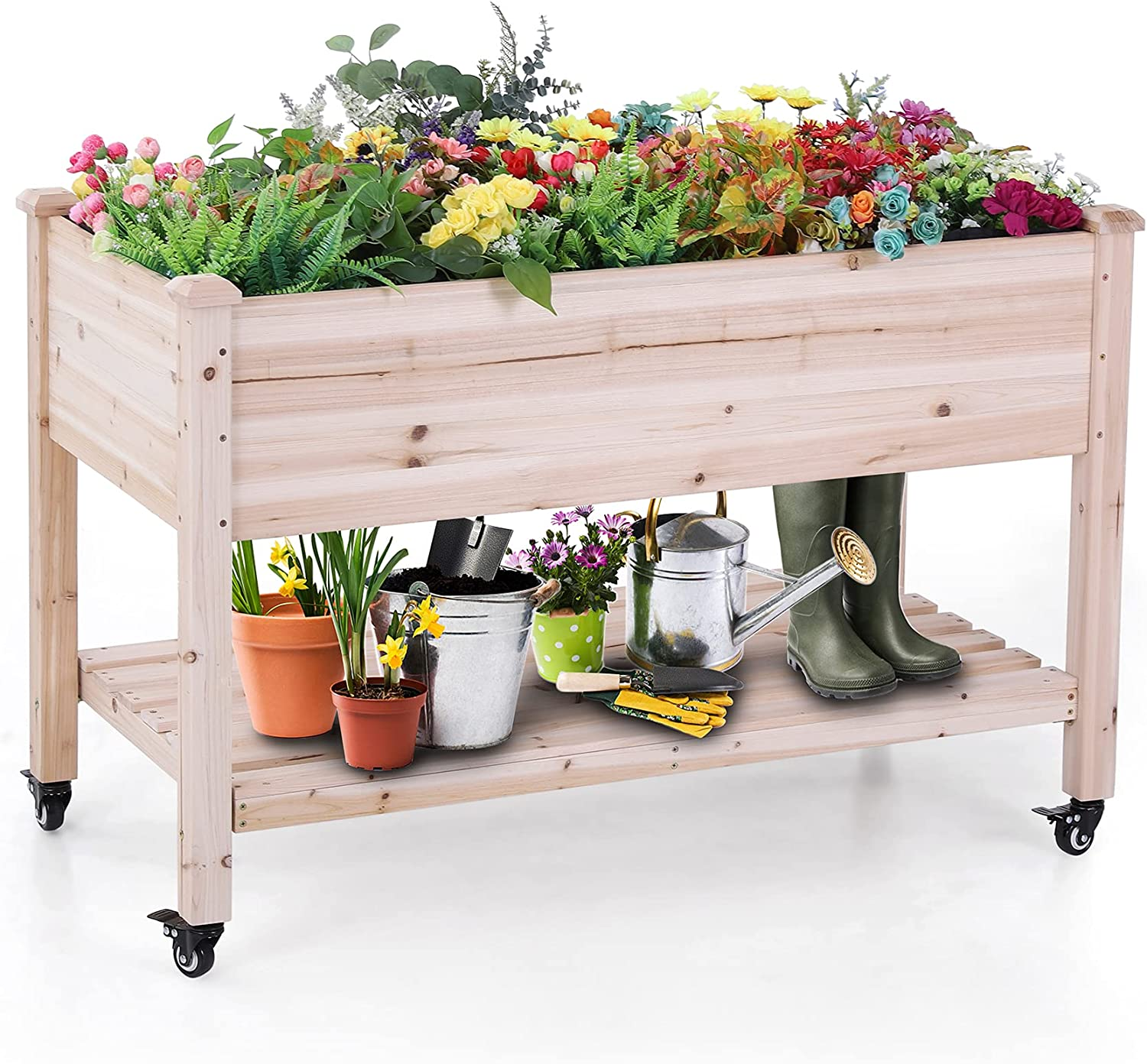 MFSTUDIO Elevated Planter Garden Bed,Outdoor Mobile Wooden Raised Box with Wheels and Lower Shelf for Patio,Backyard,Balcony