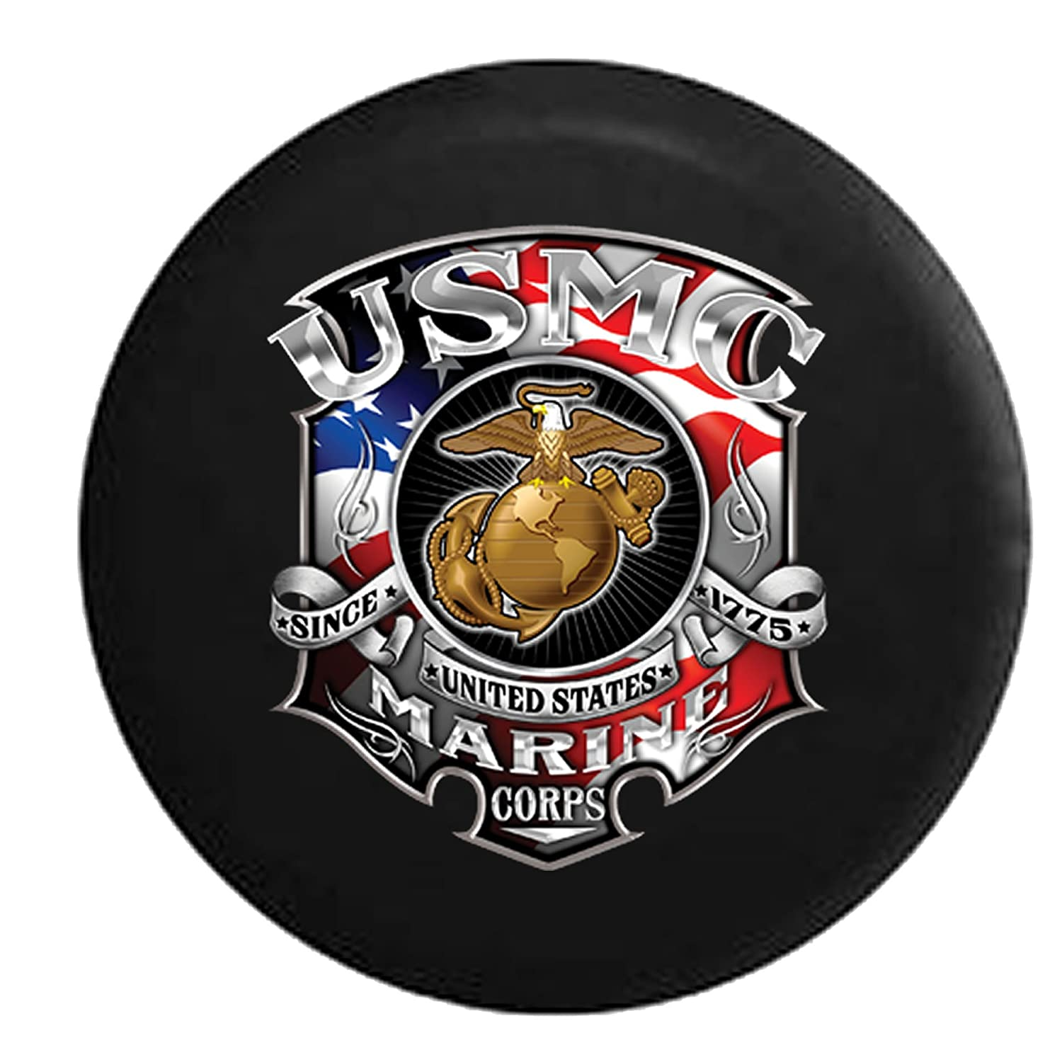 USMC Marine Corp Since 1775 American Flag Shield Crest Golden Eagle Spare Tire Cover Black 32 in