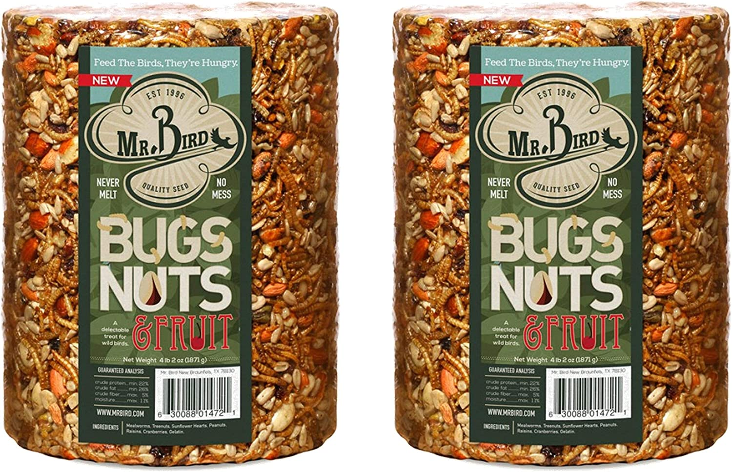 2-Pack Mr. Bird Bugs, Nuts & Fruit Wild Bird Seed Large Cylinder 4 lbs. 2 oz.