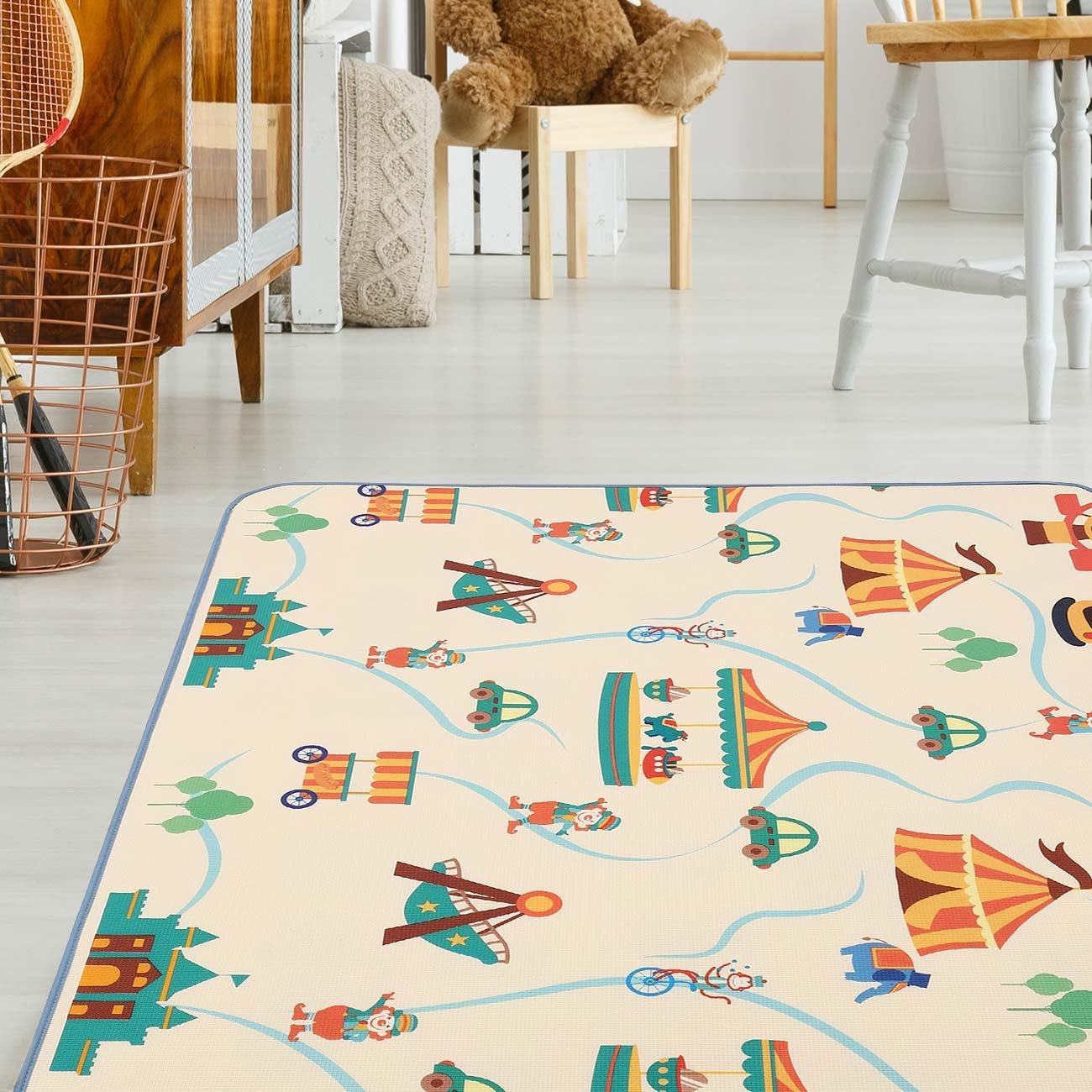 Baby Vivo Premium Spielteppich Circus 1 cm dicker Kinderteppich XXL 200 x 150 cm Krabbeldecke Kinderspielteppich Spielmatte Playmat Spieleteppich Erlebnisdecke Krabbelmatte Spieldecke