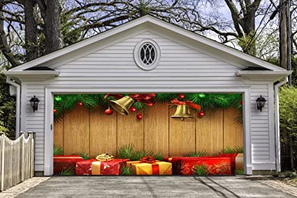 christmas garage door covers banners outdoor holiday decorations full color billboard for 2 car garage door - Garage Christmas Decorations