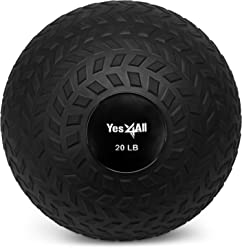 Yes4All Slam Ball Medicine Ball - Easy Grip Textured Surface and Ultra Durable Rubber Shell - Weight Available 10, 15, 20 lbs