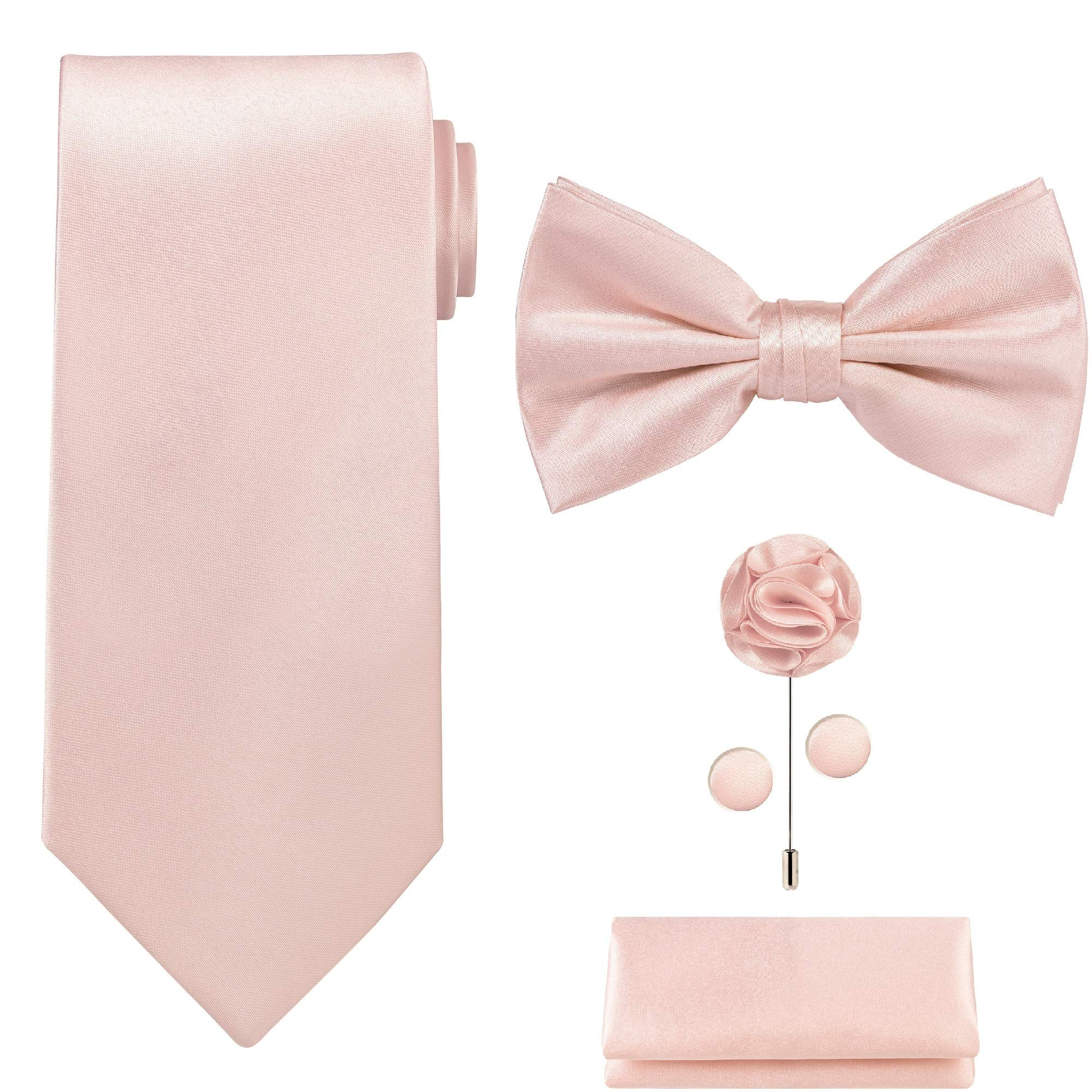 5pcs Tie set in a gift box : Tie sets : Solid color Neck tie,Satin Bow tie,Pocket Square, Lapel, Cuffs link (Blush Pink) by Tie G U Style