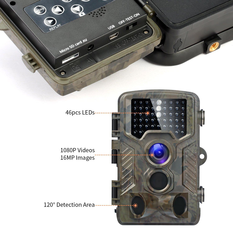 Fivanus Cámara de Caza 16MP 1080P HD Nocturna para Vigilancia Trail Cámara Impermeable 46 IR Invisible 3 PIR Sensor de Movimiento(2.4