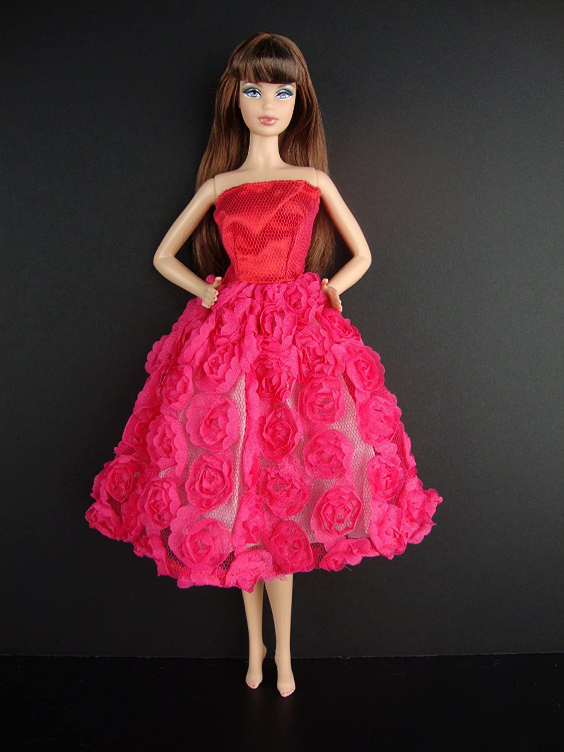 Amazon.com: A Hot Pink Knee Length Dress Covered in Roses It so Cute ...