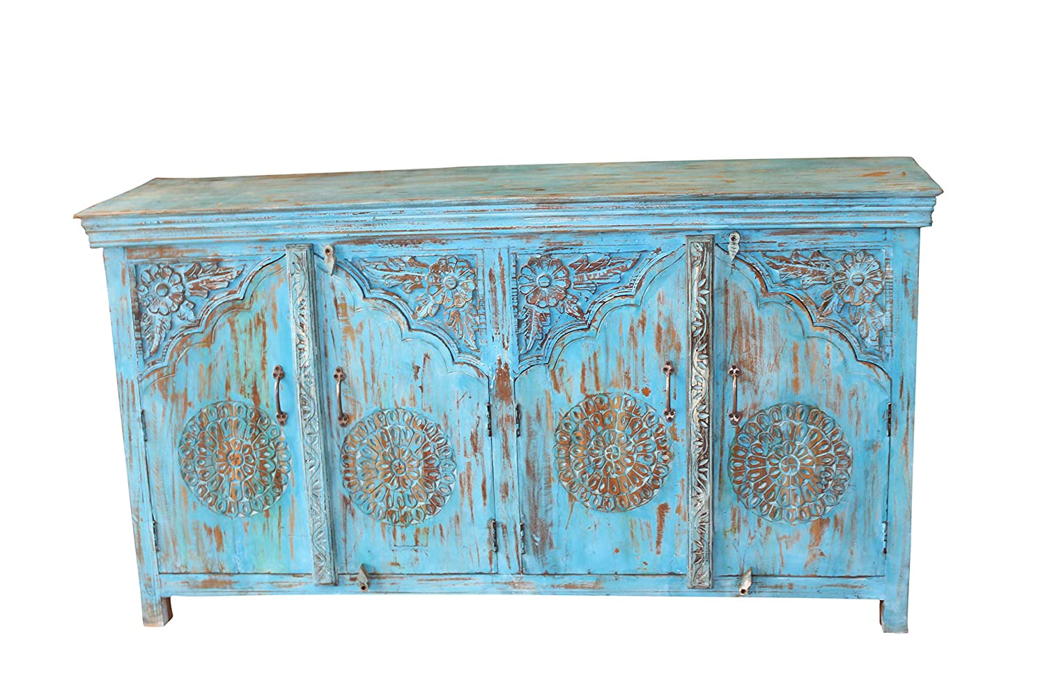Amazon com mogul interior turquoise sideboard blue distressed arched door rustic carved chest buffet buffets sideboards
