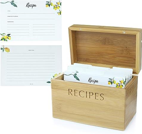 Menta + Elm bambú caja de recetas y 100 tarjetas de recetas: Amazon.es: Hogar
