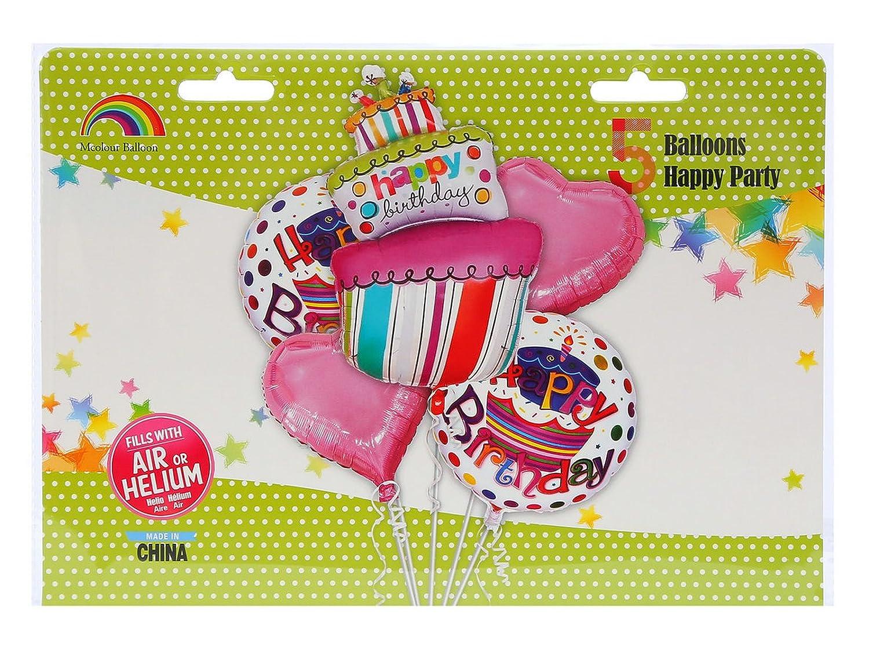 Amazon.com: Mcolour Balloon Birthday Cake Balloons 5 Piece ...
