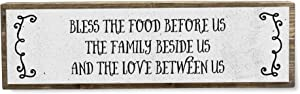 Bless The Food Before Us The Family Beside Us and The Love Between Us - Metal Wood Sign Light - Kitchen Decor - Rustic Farmhouse Kitchen Decor Wall Sign