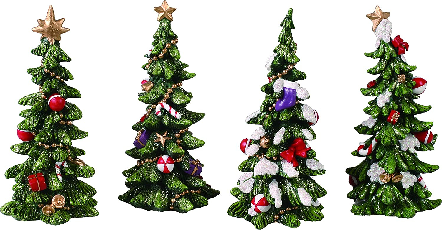 Transpac Imports Resin Holiday Tree Set of 4 Figurine, Green