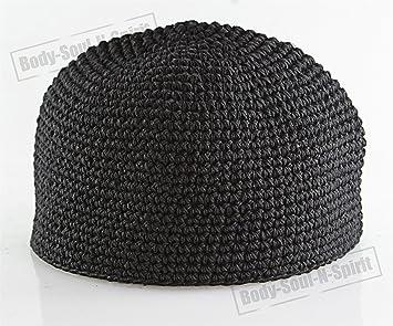 e45449c17e8 Amazon.com  Black Knitted Beanie Kippah Yarmulke Tribal Jewish Hat ...