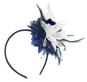 Navy Blue and White Fascinator on Headband for Ascot Weddings   Amazon.co.uk  Beauty 5ac4f77e217
