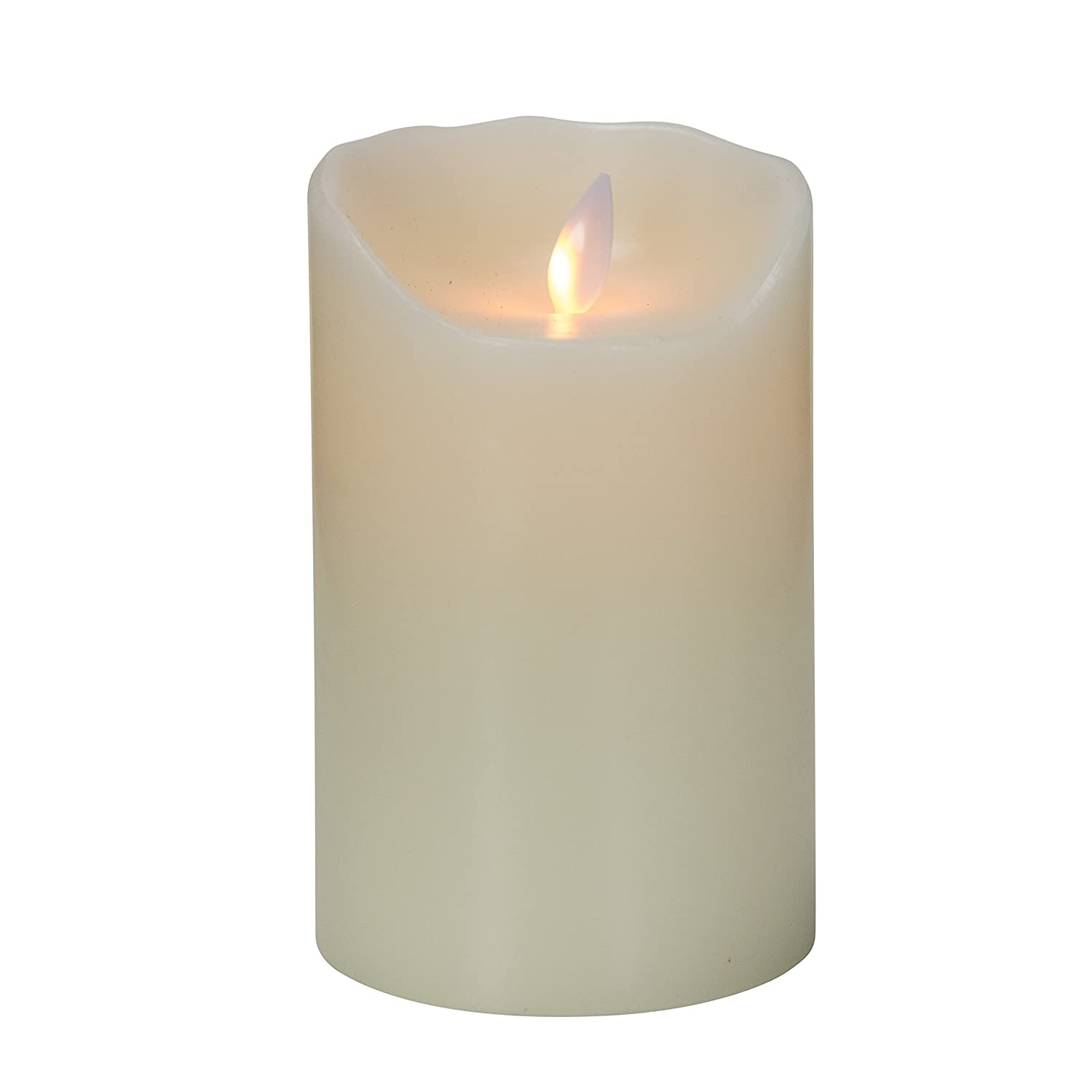 Real Wax Candle With Realistic Flickering Wick Ivory 7 Pillar Mystique Flameless Candle Remote Control Ready Battery Operated By Boston Warehouse Ivory 7 Pillar 63569