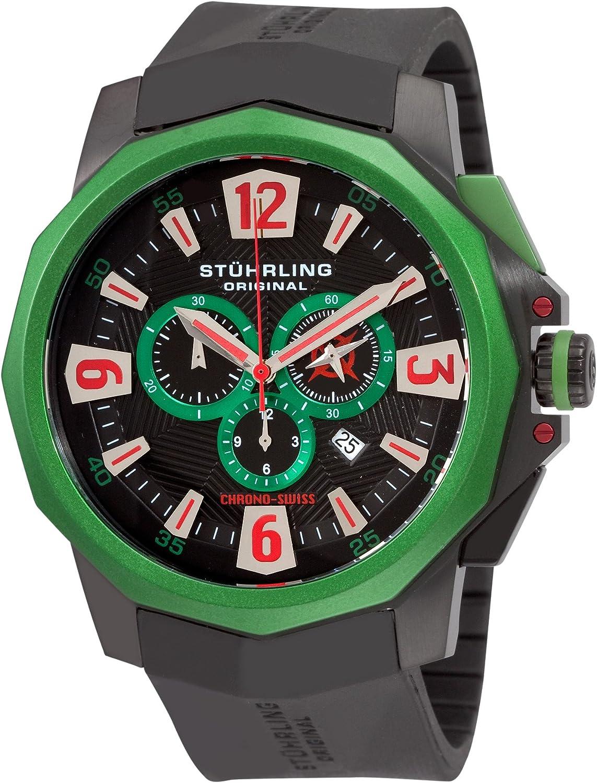 Stuhrling Original Men s 300.332W671 Admiral Swiss Quartz Chronograph Green Bezel Watch