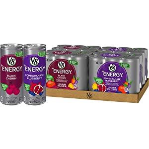 V8 +Energy Variety Pack, Healthy Energy Drink, Black Cherry and Pomegranate Blueberry, 8 Ounce Can (4 Packs of 6, Total of 24)