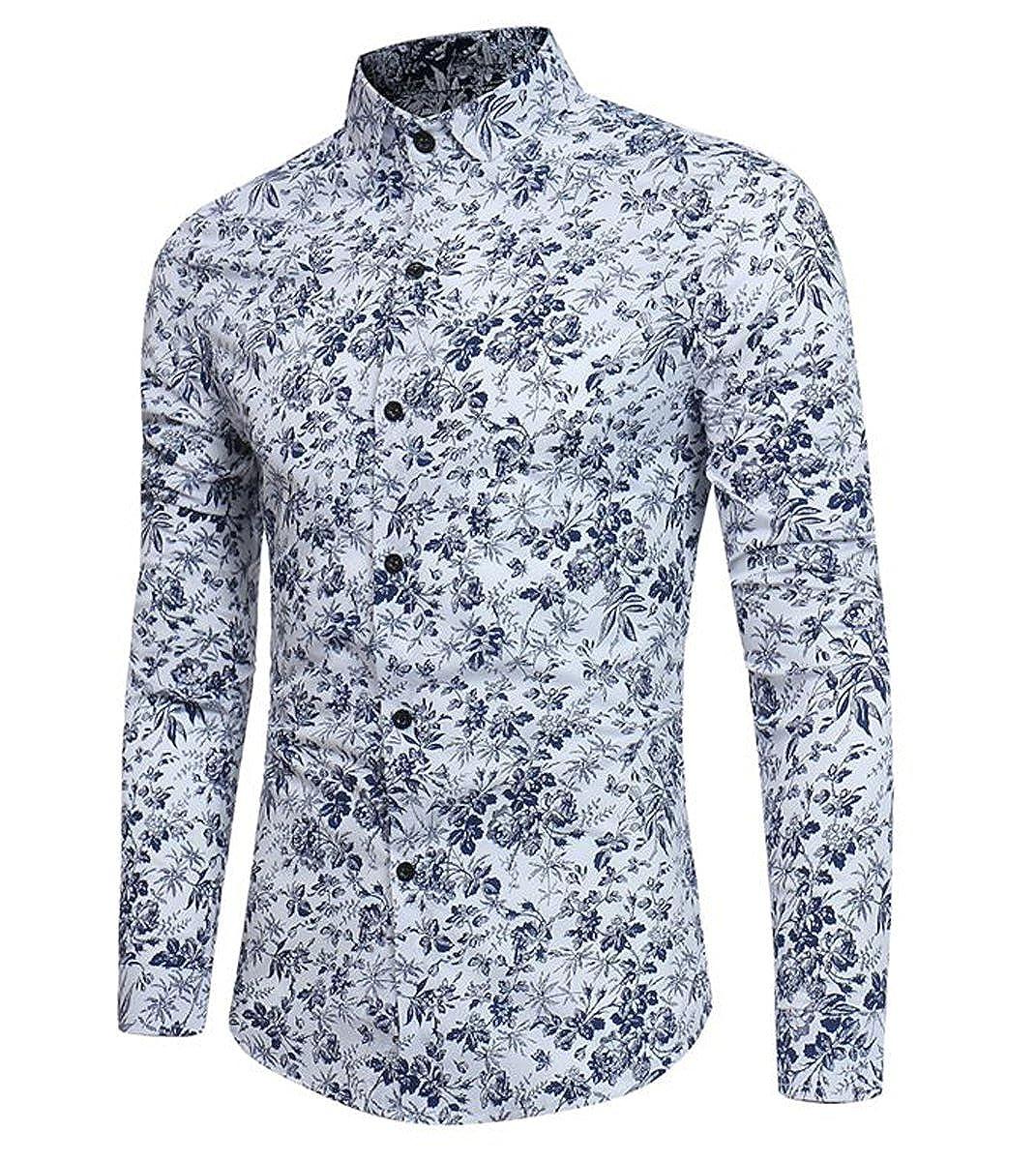 Camisa de lino informal de manga larga para hombre, diseño floral