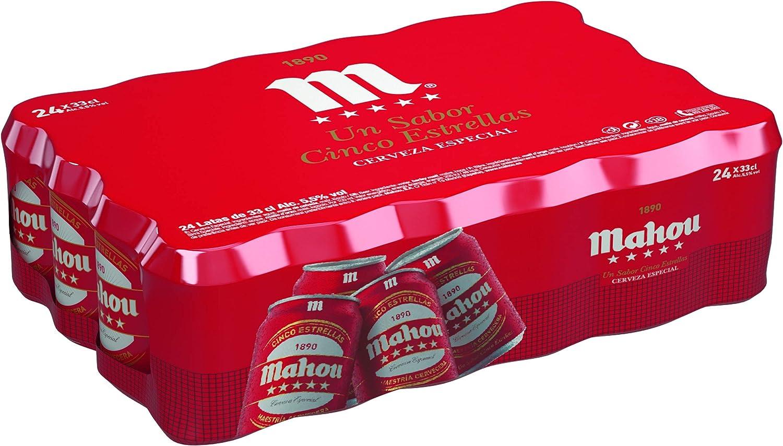 Mahou - 5 Estrellas Cerveza Dorada Lager, 5.5% de Volumen de Alcohol - Pack de 24 x 33 cl: Amazon.es: Alimentación y bebidas