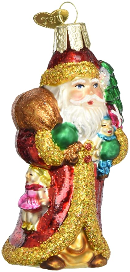 Old World Christmas Ornaments Father Christmas W Gifts Glass Blown Ornaments For Christmas Tree