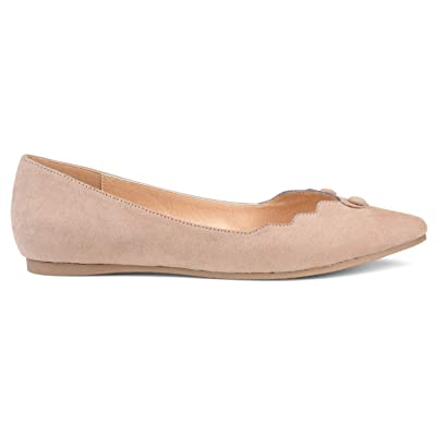 Brinley Co. Womens Mabry Faux Suede Button Scalloped Flats | Flats