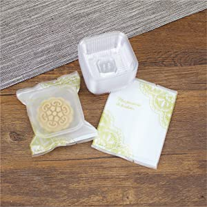 50g Vintage Moon Cake Plastic Bags Hot Seal Cookie Candy Bag With Trays 100 Sets (50G Yellow Lace)