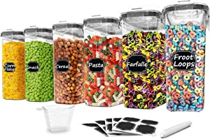 Cereal Storage Containers Set of 6 - Paincco BPA Free Plastic Airtight Food Storage Canisters 4L /135.2oz - Large Kitchen Storage Keeper for Flour, Sugar, Baking Supplies, with Easy Pouring Lid