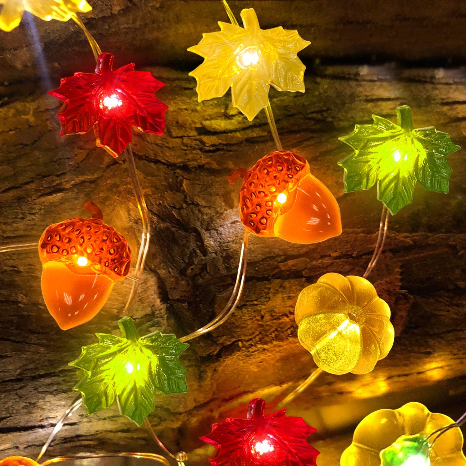 TURNMEON 3D Pumpkin Maples Acorns String Lights Fall Decor, 10Ft 30LED Warm White Battery Powered Fall Garland with Lights Indoor Outdoor Decoration for Fall Autumn Halloween Thanksgiving Home Party