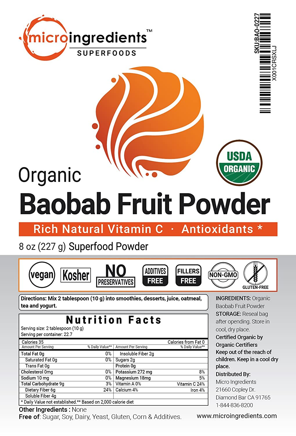Amazon.com: Organic Baobab Fruit Powder, 8 Ounce, Organic Vitamin C, Natural Antioxidant, Flavonoids and Fatty Acid, Strongly Promotes Energy and Immune ...