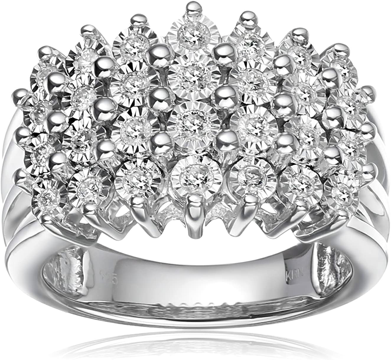 Sterling Silver with Miracle Plate Diamond Engagement Ring (1/2 cttw, I-J Color, I2-I3 Clarity), Size 7