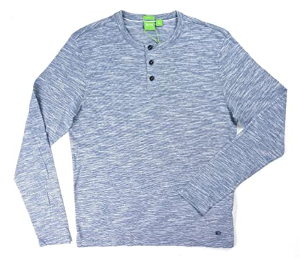 195a52232 Image Unavailable. Image not available for. Color: Hugo Boss New Green  Label Blue Striped L/S Slim FIT C-Veneto Henley
