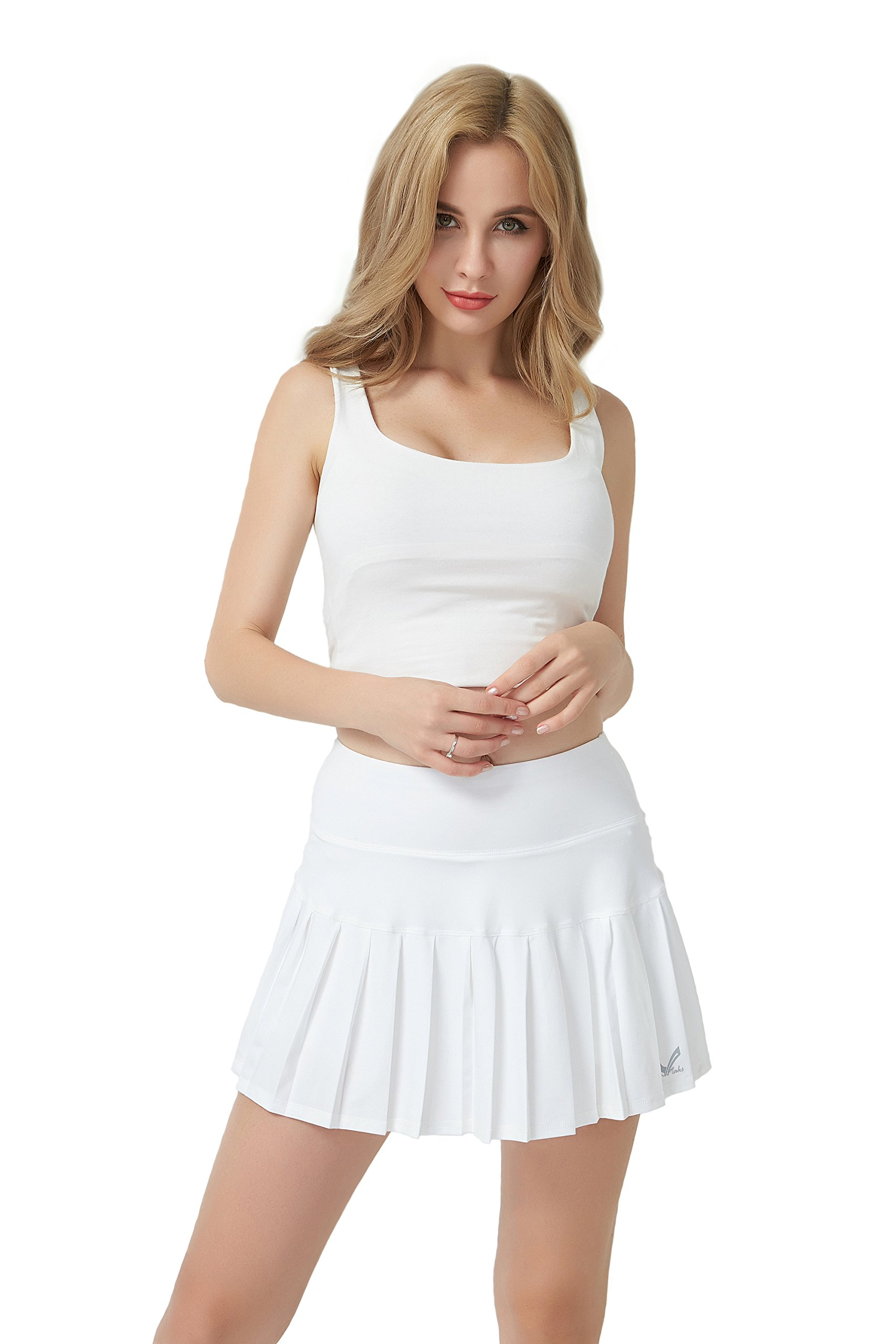 Maks Womens Athletic Cycling Running Pleated High Waist Tennis Skort Skirt (White, L)