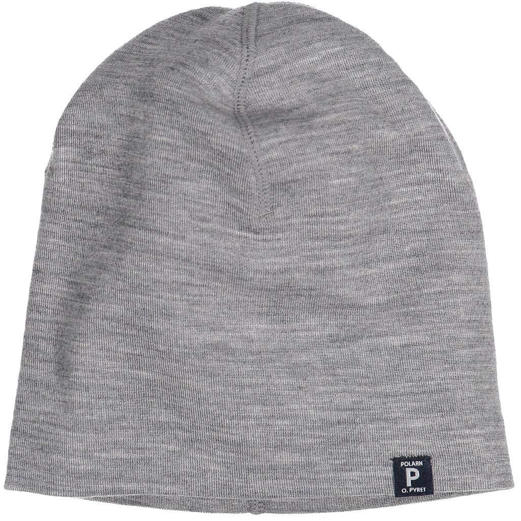 Polarn O. Pyret Merino Wool Long SHOREMAN HAT (9-12YRS) - Grey Melange/9-12 Years