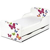 Moderne Lit d'Enfant Toddler 140/70 cm Motif Décoration Papillons Colorés Un Lit Pour Une Fille Avec Matelas Lit Papillons Pour Enfants Bois Blanc avec Tiroir