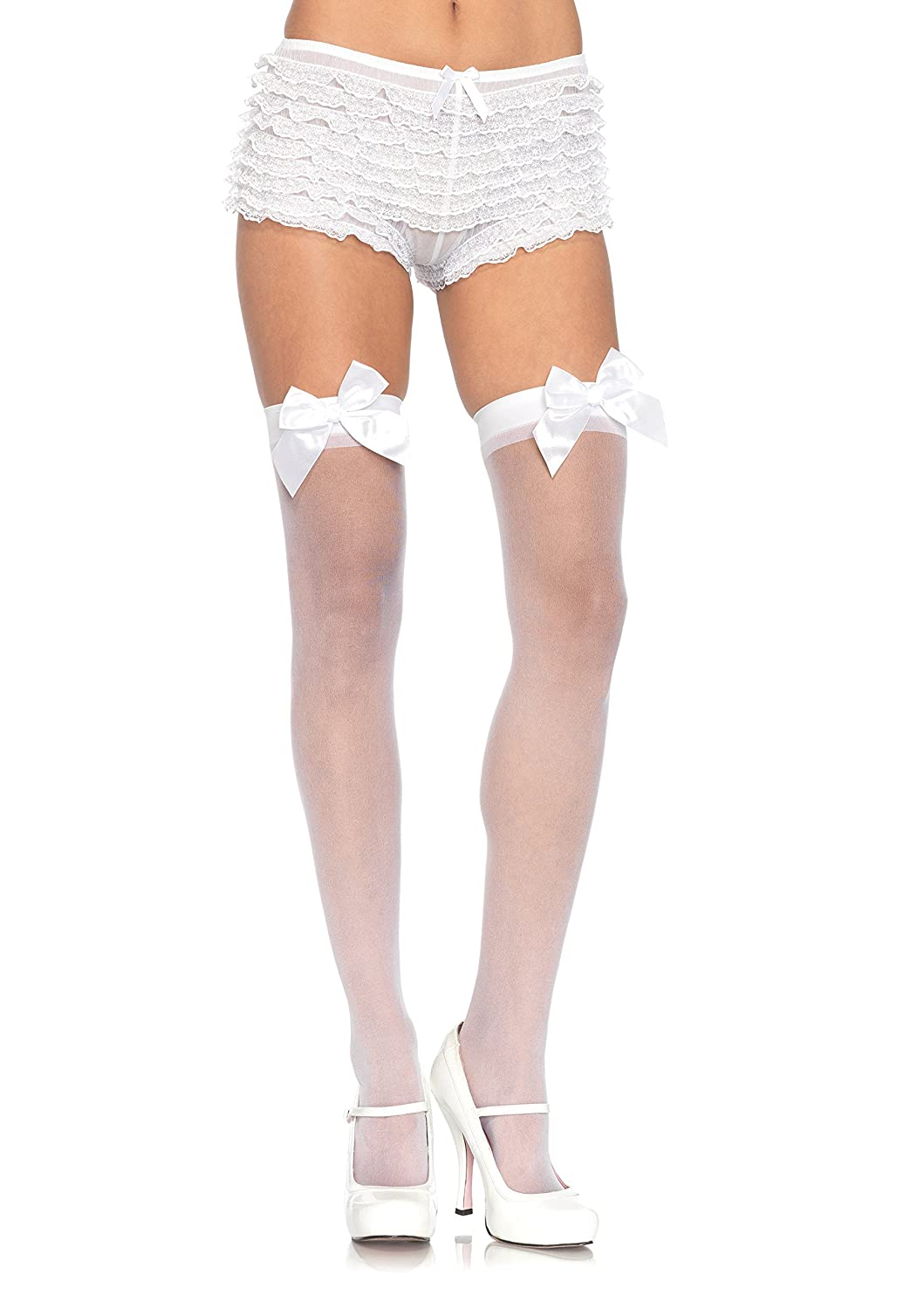 Leg Avenue Women's Sheer Thigh High Stockings With Satin Bow Black One Size 191122001
