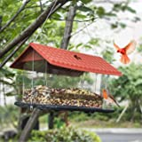 FUNPENY Hanging Wild Bird Feeder, Red Roof Panorama House Bird Feeders and Garden Decoration for Bird Watchers and…