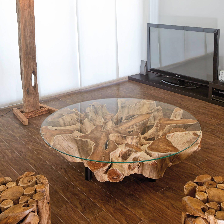 design wurzelholz couchtisch naga glasplatte cm handarbeit massiv baumstamm teak wurzel wohnzimmer tisch de kche u haushalt with baumstamm platte