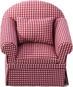 Inusitus Miniature Dollhouse Sofa Arm Chair - Dolls House Furniture Couch - White with Red Pattern - 1/12 Scale (Red Check)