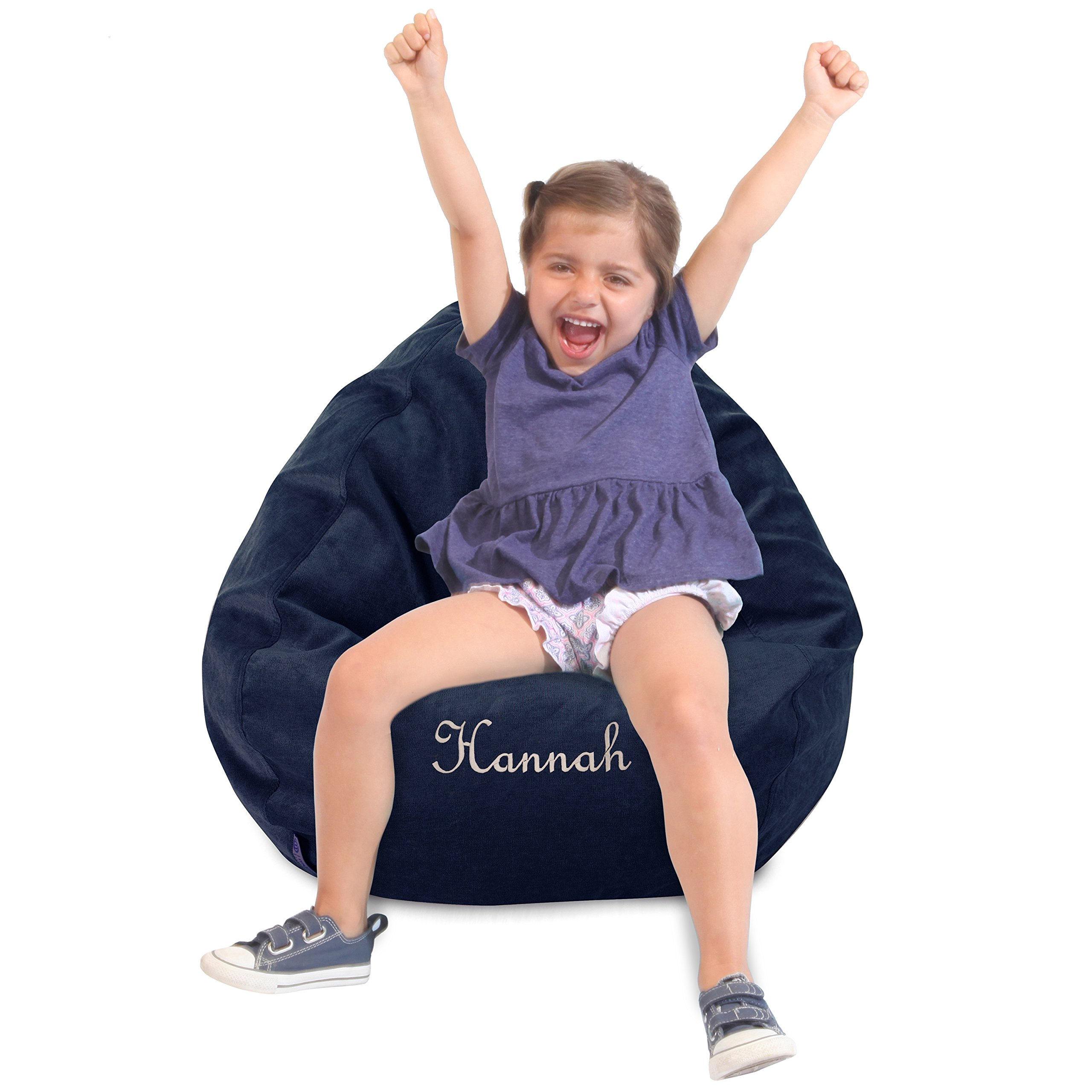 Personalized Majestic Home Goods Classic Bean Bag Chair - Villa Giant Classic Bean Bags for Small Adults and Kids, 28 x 28 x 22 Inches (Navy)