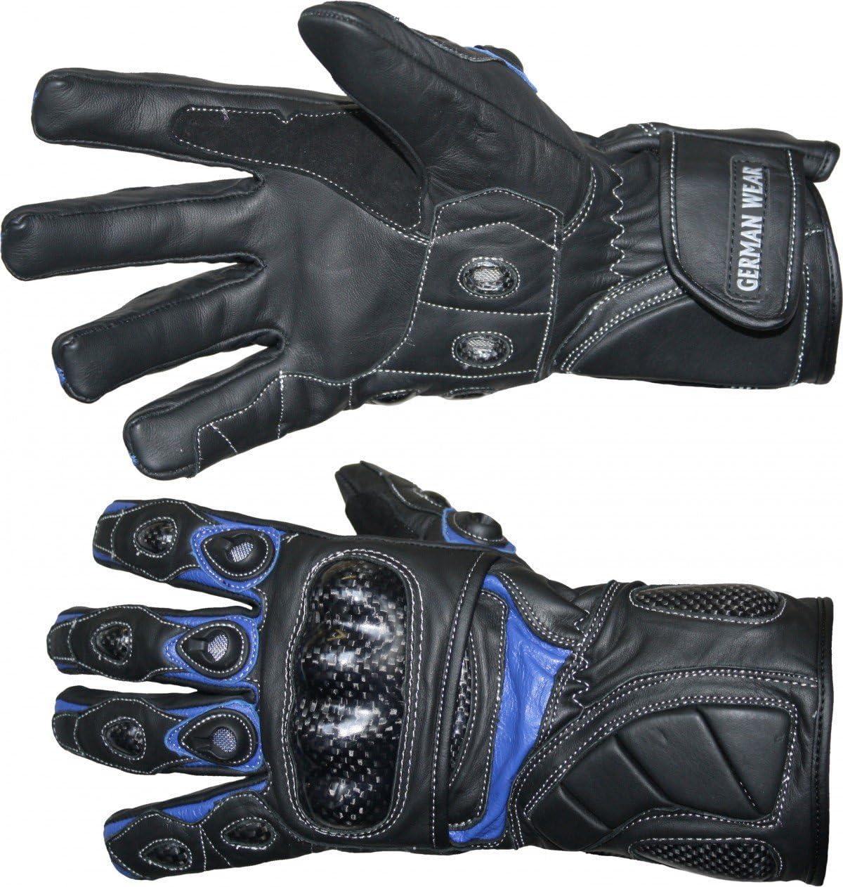 German Wear Motorradhandschuhe Motorrad Biker Handschuhe Lederhandschuhe Größe 9 L Farbe Blau Auto