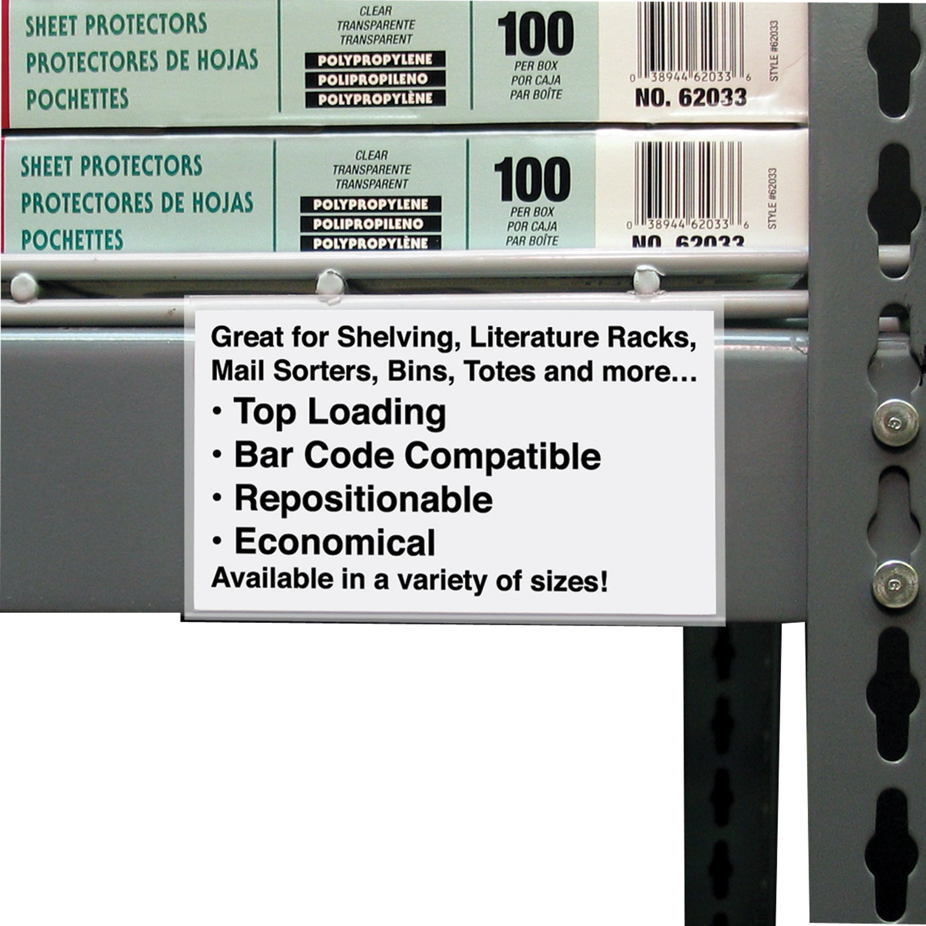 C-Line Best Value Peel and Stick Shelf/Bin Label Holders, Inserts Included, 3 x 5 Inches, 50 per Pack (87647) by C-Line