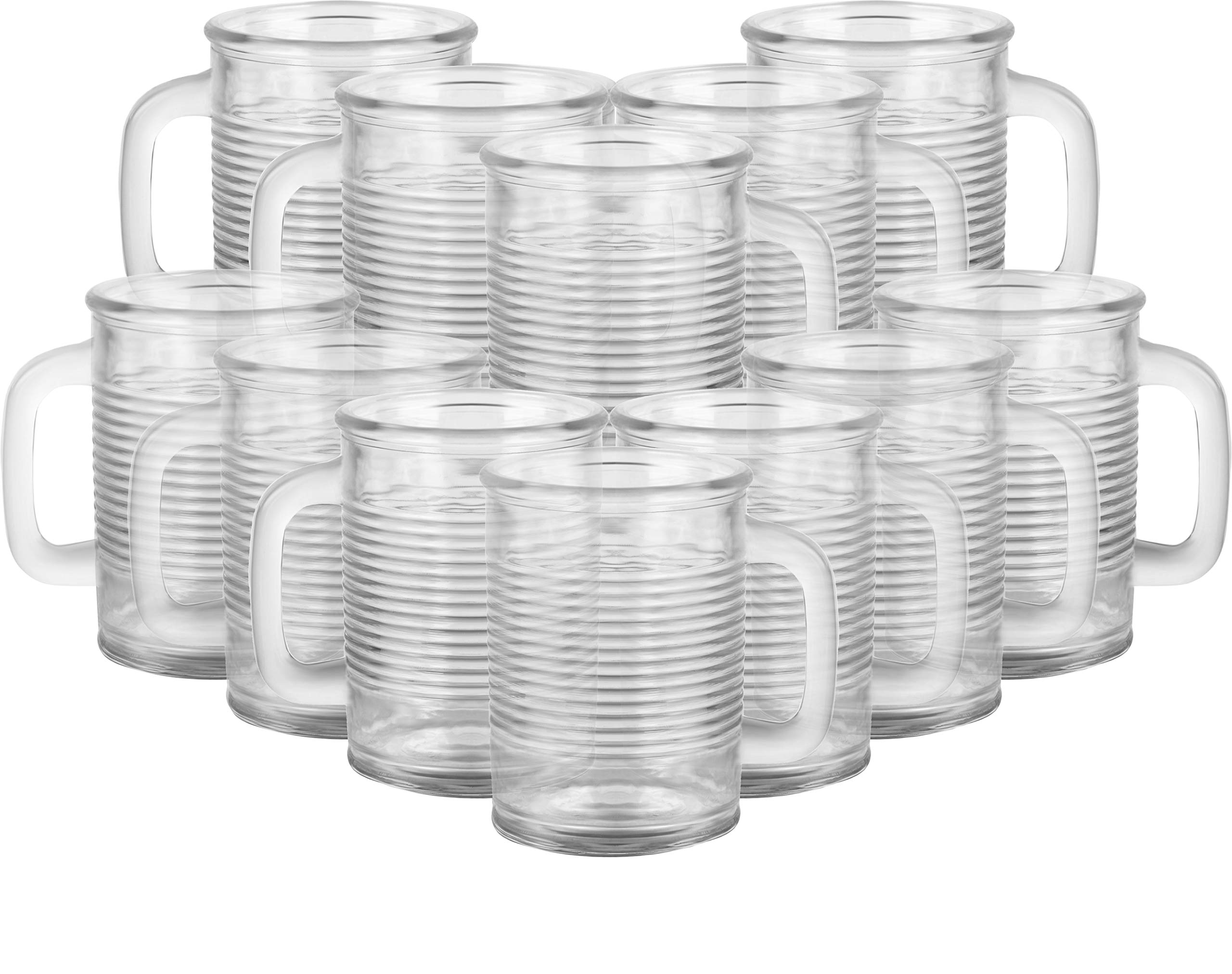 Circleware 04430/AM Huge Set of 12 Mason Jar Mugs in Fun Can Shaped Glasses Home and Kitchen Farmhouse Glassware Décor Drink Tumblers for Water, Beer, Whiskey and Cold Beverages, 17.5 oz, Clear