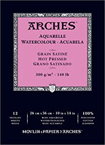 "Arches Watercolor Paper Pad, 140 pound, Hot Press, 10""x14"" (1795098)"