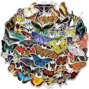 50 Pcs Waterproof Multicolor Butterfly Stickers Pack Nature Insect Decals for Laptop Phone Case Scrapbook Binders Water Bottle Room Decoration
