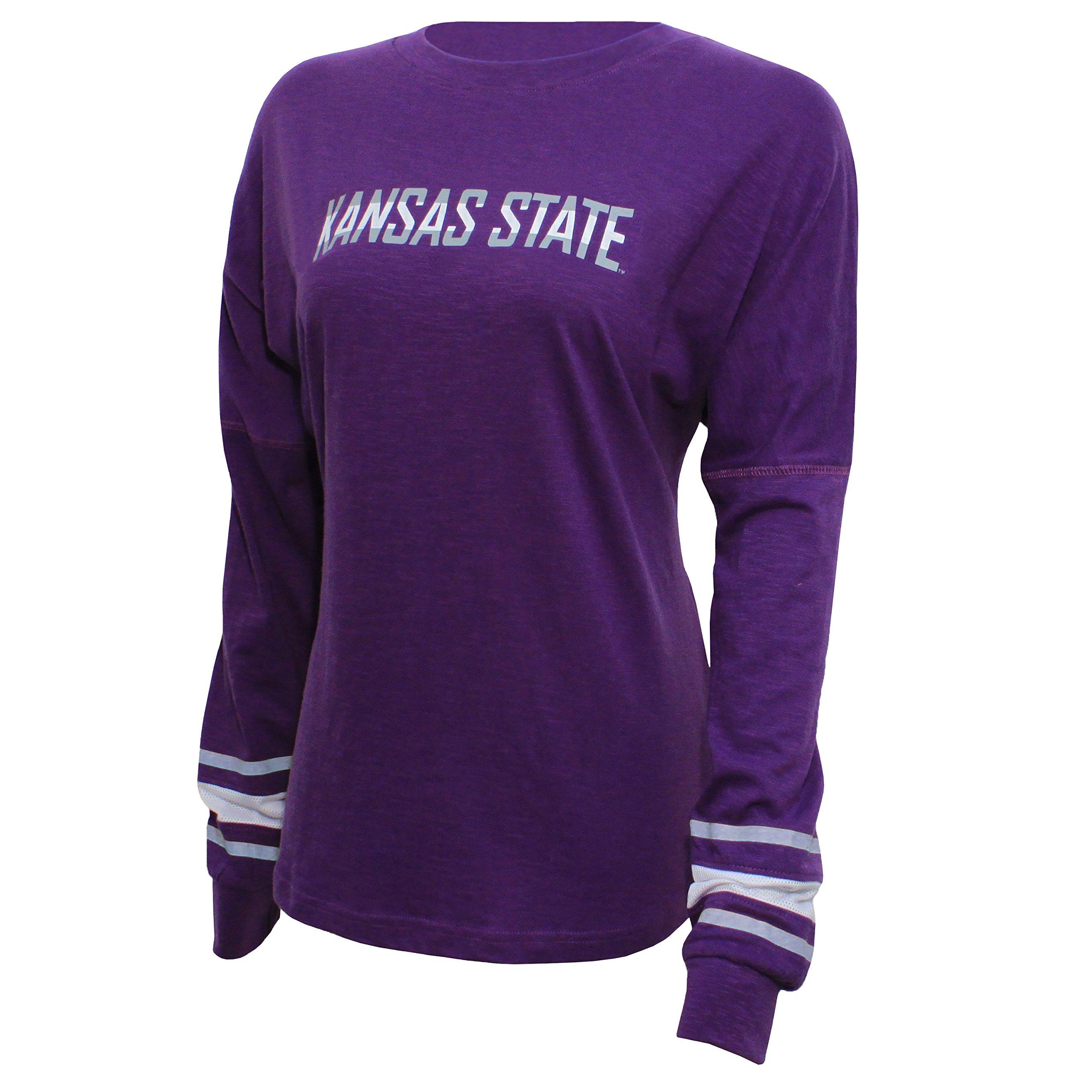 NCAA Kansas State Wildcats Women's Campus Specialties Long Sleeve Fan Tee, Large, Purple
