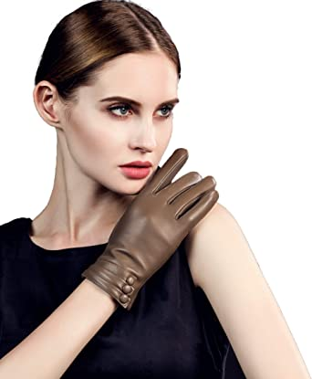 Womans Designer Warm Driving Fleece Lined 100/% Genuine Leather Stylish Gloves