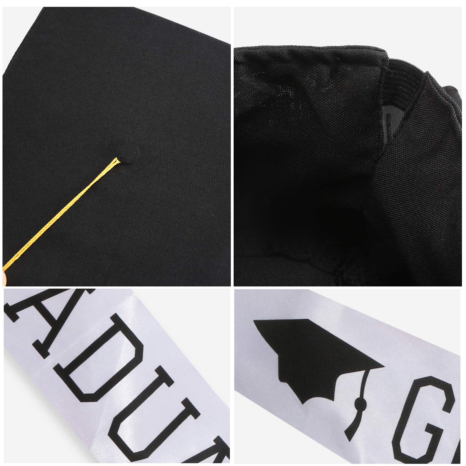 Graduation Accessory Set Includes Graduation Cap with Tassel and Graduation Sash for Graduation Party Photo Props Supplies Black