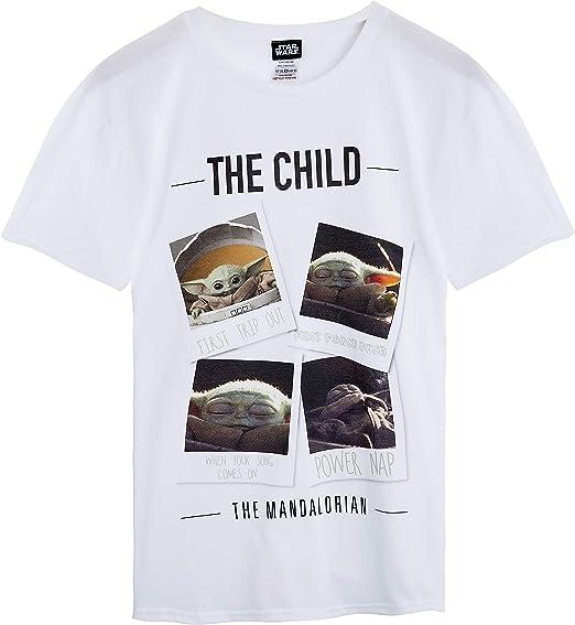 Magliette Uomo The Mandalorian Jedi T Shirt Uomo Divertenti Maniche Corte Taglia S alla XXL Maglietta da Uomo Regalo Originale Star Wars Baby Yoda The Child Tshirt