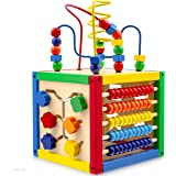 Play22 Activity Cube with Bead Maze - 5 in 1 Baby Activity Cube Includes Shape Sorter, Abacus Counting Beads, Counting Number